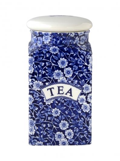 英国食器バーレイ社 ブルーキャリコ スクエアキャニスター TEA イギリス/陶器/おしゃれ/保存容器/紅茶/ティー