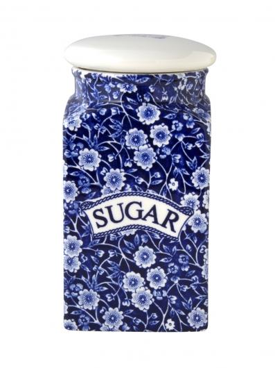 英国食器バーレイ社 ブルーキャリコ スクエアキャニスター SUGER イギリス/陶器/おしゃれ/保存容器/砂糖