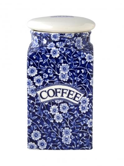 バーレイ 英国食器 Burleigh ブルーキャリコ スクエアキャニスター COFFEE イギリス/陶器/おしゃれ/保存容器/珈琲/コーヒー