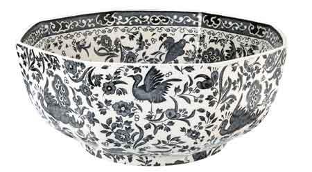 バーレイ ブラックリーガルピーコック オクタゴナルボウル 英国製/八角形/菓子器/大鉢陶器/Burleigh Regal Peacock