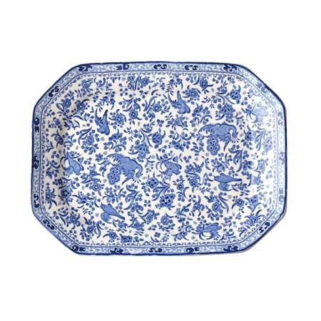 イギリス食器 バーレイ社 Burleigh Regal Peacock リーガルピーコック スクエアディッシュ 34cm お皿/花柄/料理/おしゃれ/孔雀