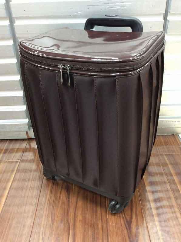 無地プリーツチョコブラウン 4輪カート 小旅行/お買い物/四輪/母の日/キャリーバッグ