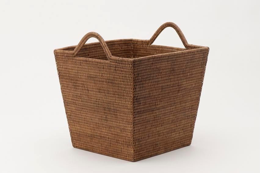 ラタン ランドリーバスケット/縦型 籐/収納BOX/衣類収納/脱衣かご
