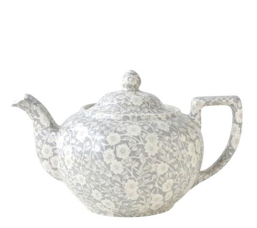 イギリス食器 バーレイ社 ダブグレイ キャリコ ティーポットL 1.0L Burleigh/英国製/鳩/花柄/おしゃれ/上品