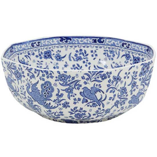 イギリス食器バーレイ社 リーガルピーコック オクタゴナルボウル 英国製/八角形/菓子器/大鉢陶器