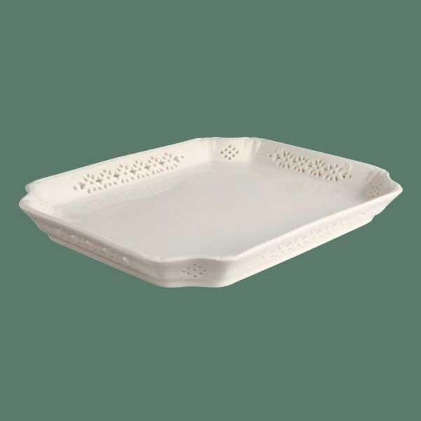 イギリス食器ハートリーグリーン・リーズウェア ピアスドウェア トレイ30cm 長角トレー/レース/ハート