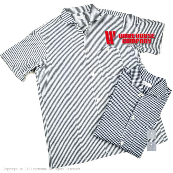 ウエアハウス(WAREHOUSE)半袖イタリアンカラーシャツ 3091
