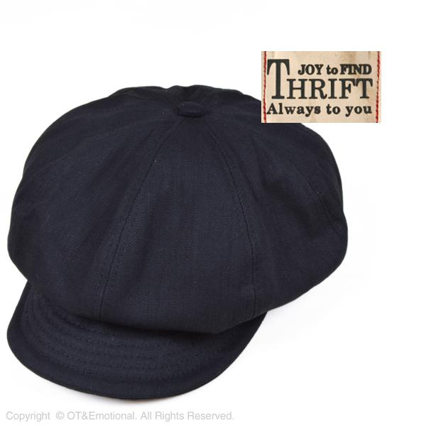シックなブラックキャスケット☆ スリフト メーカー在庫限り品 THRIFT 1314237B 直営ストア 8パネルキャスケット ブラックデニム