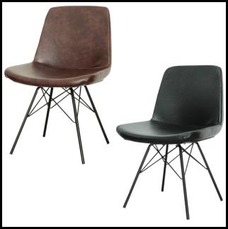 【送料無料】KT-88 レトロチェア ヴィンテージ調PUレザー張り 椅子 イス ブラック ブラウン