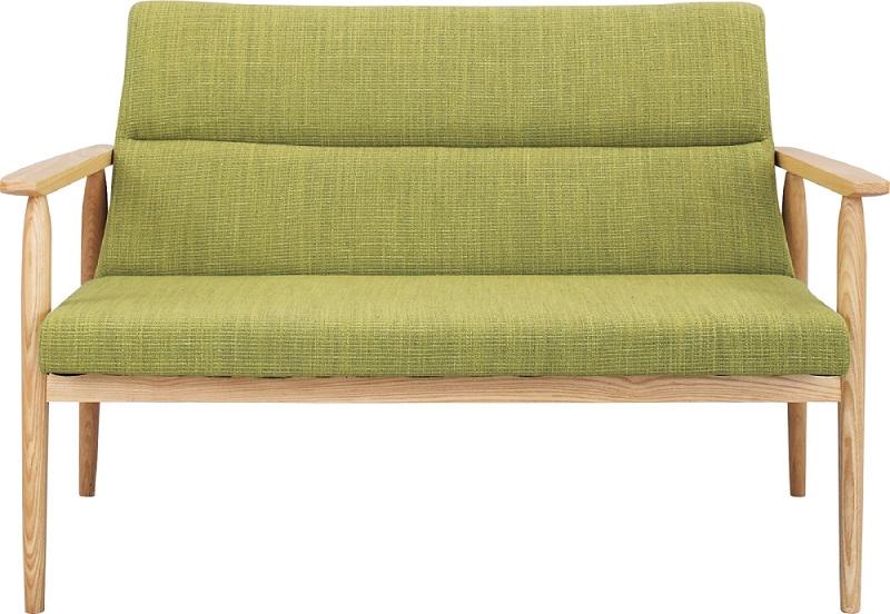 【送料無料】二人掛け 2Pソファ 天然木 ダイニングソファ グリーン