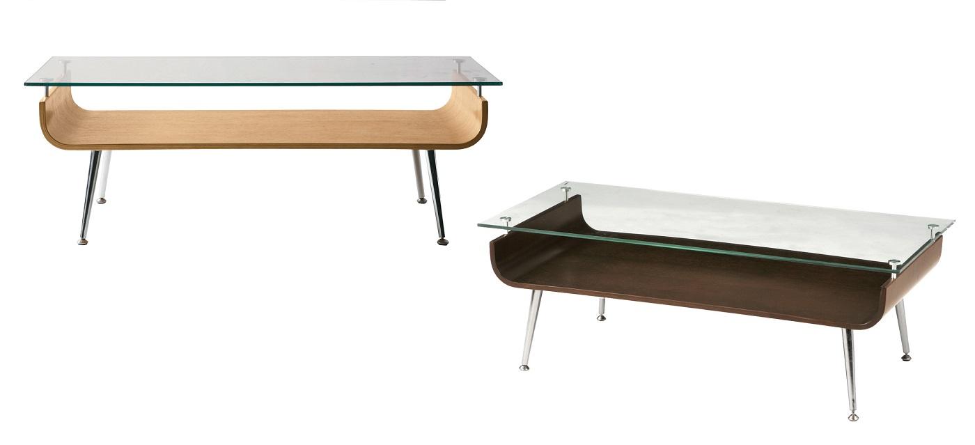 【送料無料】ガラステーブル 机 ナチュラル ブラウン 天然木