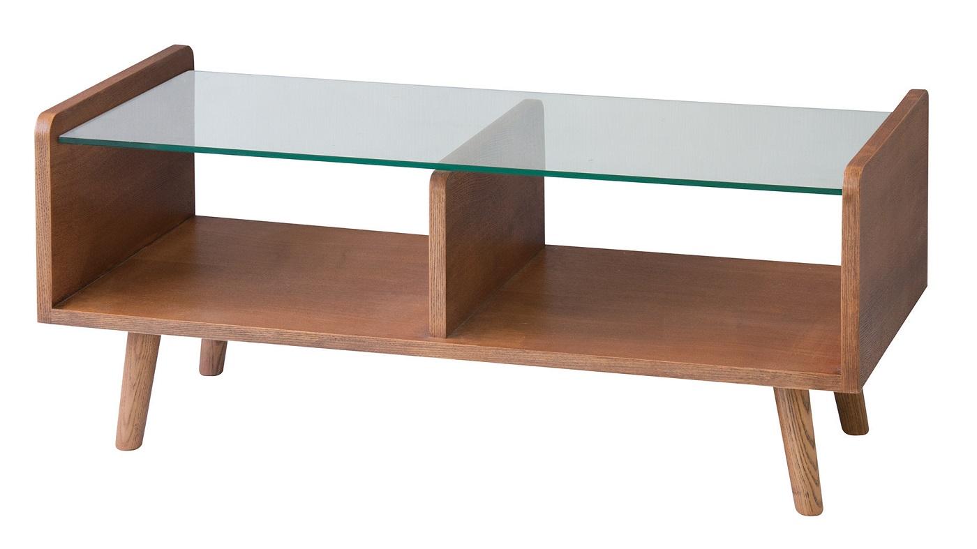【送料無料】センターテーブル 机 ブラウン 天然木 ガラス ブルックリンスタイル