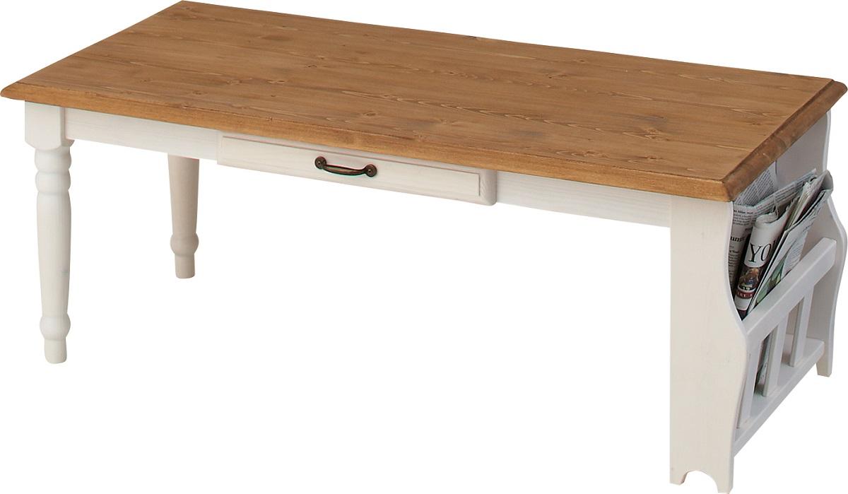 【送料無料】センターテーブル 天然木 収納付き 机