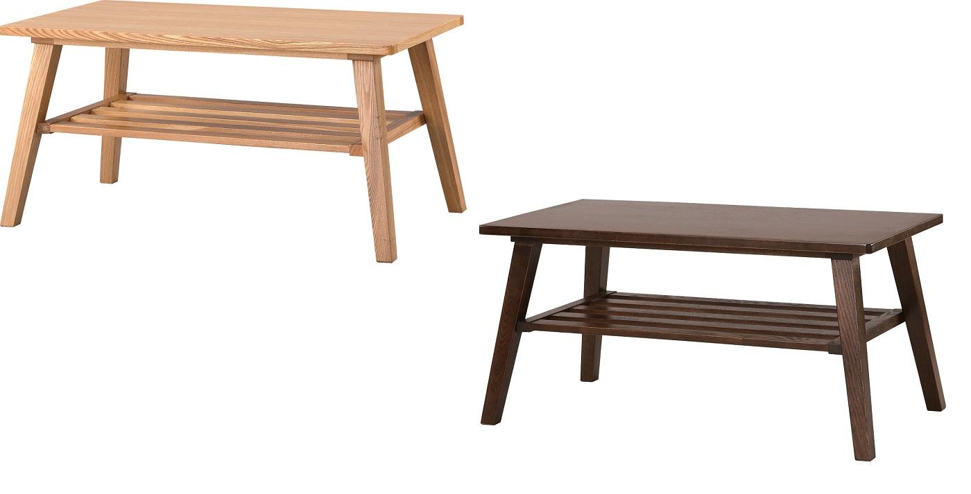 【送料無料】コーヒーテーブル 机 天然木 ナチュラル ブラウン