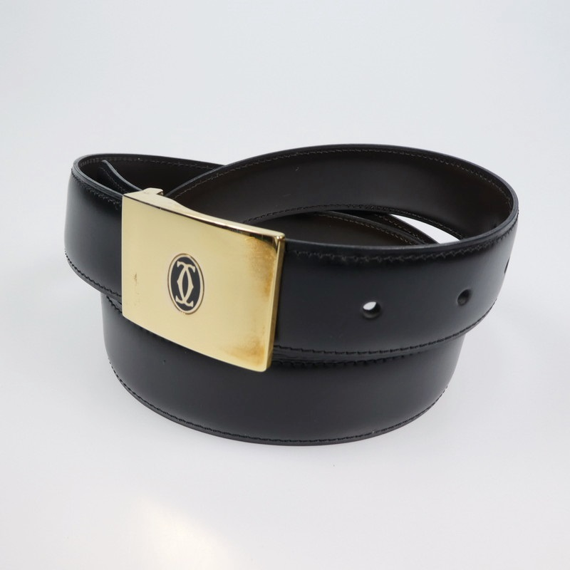 【中古】Cartier カルティエ レザーベルト サイズ: カラー:ブラック【f135】