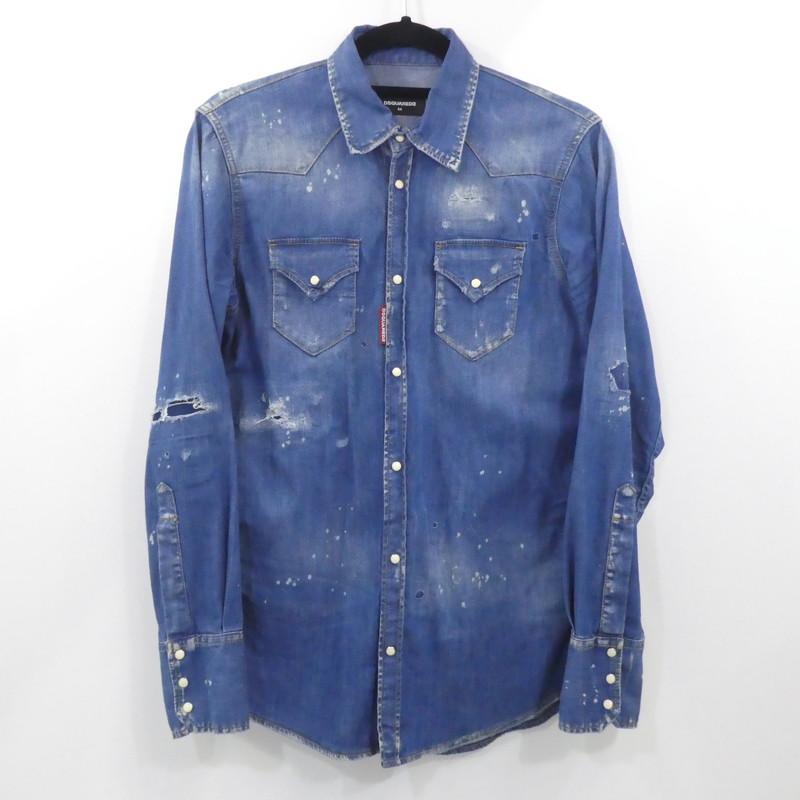 【中古】DSQUARED2 ディースクエアード 長袖クラッシュ加工デニムシャツ  サイズ:44 カラー:ブルー系 / インポート【f108】