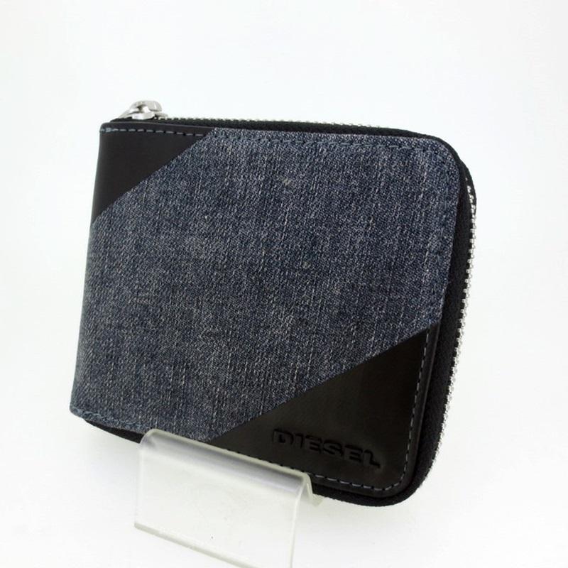 中古 DIESEL ディーゼル ウォレットチェーン付きコンパクトファスナー財布 f124 gwpu X03592PR185 定価の67%OFF 送料無料