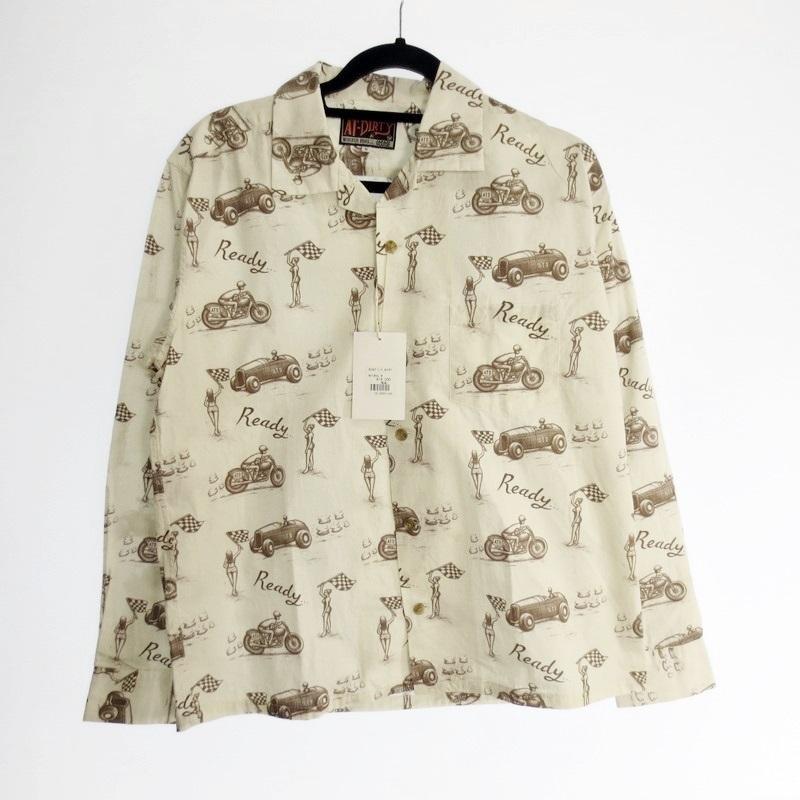 【中古】AT DIRTY アットダーティー READY L/S SHIRT 長袖オープンカラーシャツ 2020SS サイズ:M カラー:Natural / アメカジ【f104】
