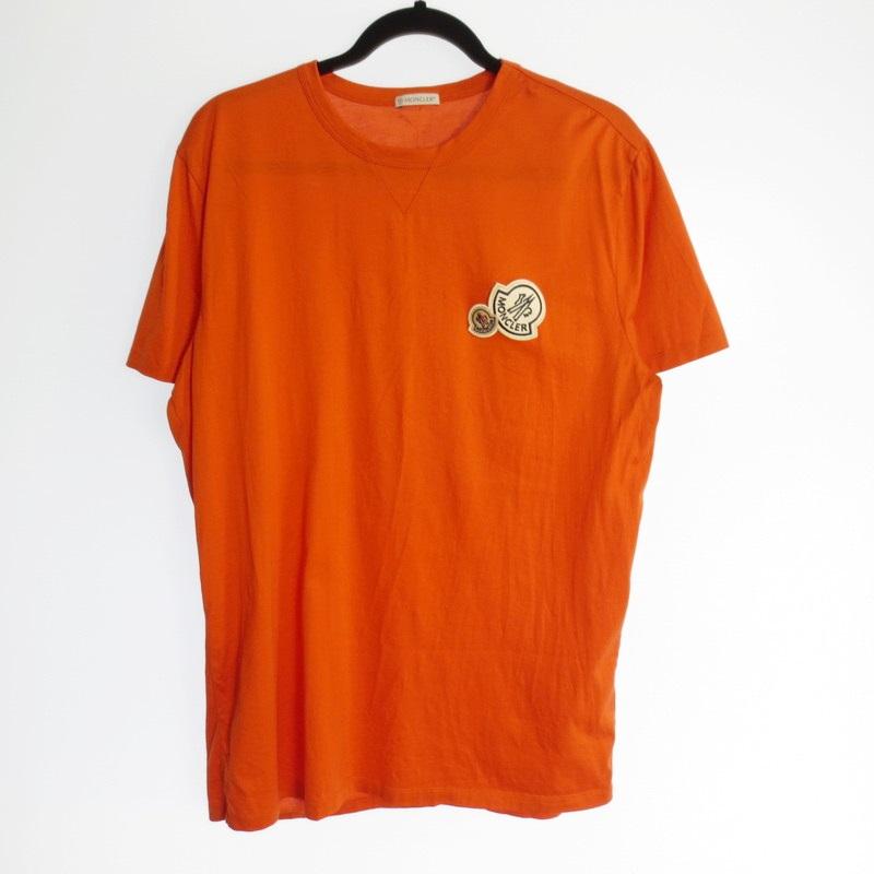 【中古】MONCLER モンクレール ダブルロゴワッペン Tシャツ 国内正規品 2017SS サイズ:XXL カラー:オレンジ / インポート【f108】