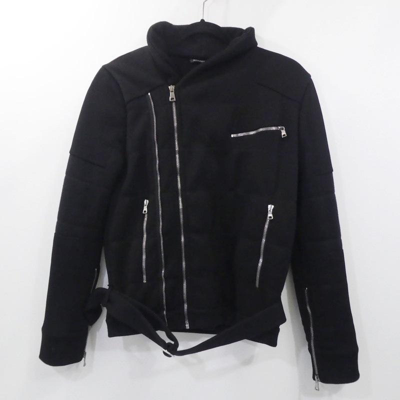 【中古】BALMAIN HOMME バルマン オム バイカーウールジャケット 2013年モデル 国内正規品 サイズ:S カラー:ブラック / インポート【f108】