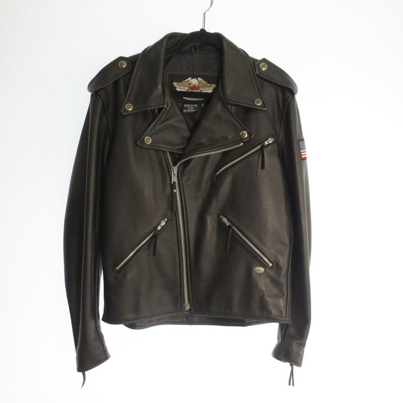 【中古】Harley Davidson ハーレーダビッドソン レザーダブルライダースジャケット  サイズ:L カラー:ブラック / アメカジ【f093】