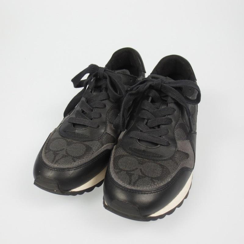 【中古】COACH コーチ C142 Runner スニーカー FG1945 サイズ:26 カラー:ブラック【f135】