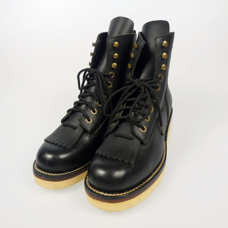 【中古】VANSON|ヴァンソン バンソン NVBO-102 レザーレースアップ ブーツ ブラック サイズ:XL(27cm)【f127】