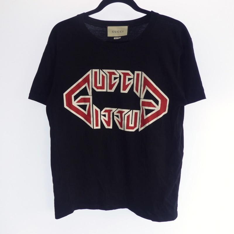 【中古】GUCCI グッチ Metalic Logo Tシャツ 2019S/S 493117 ブラック サイズ:XS【f135】