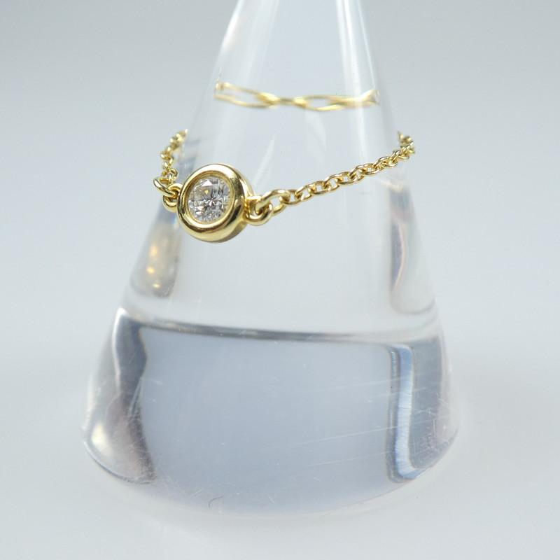 中古 TiffanyCo ティファニー ダイヤモンドバイザヤード K18リング f135 海外輸入 サイズ:#9 限定品