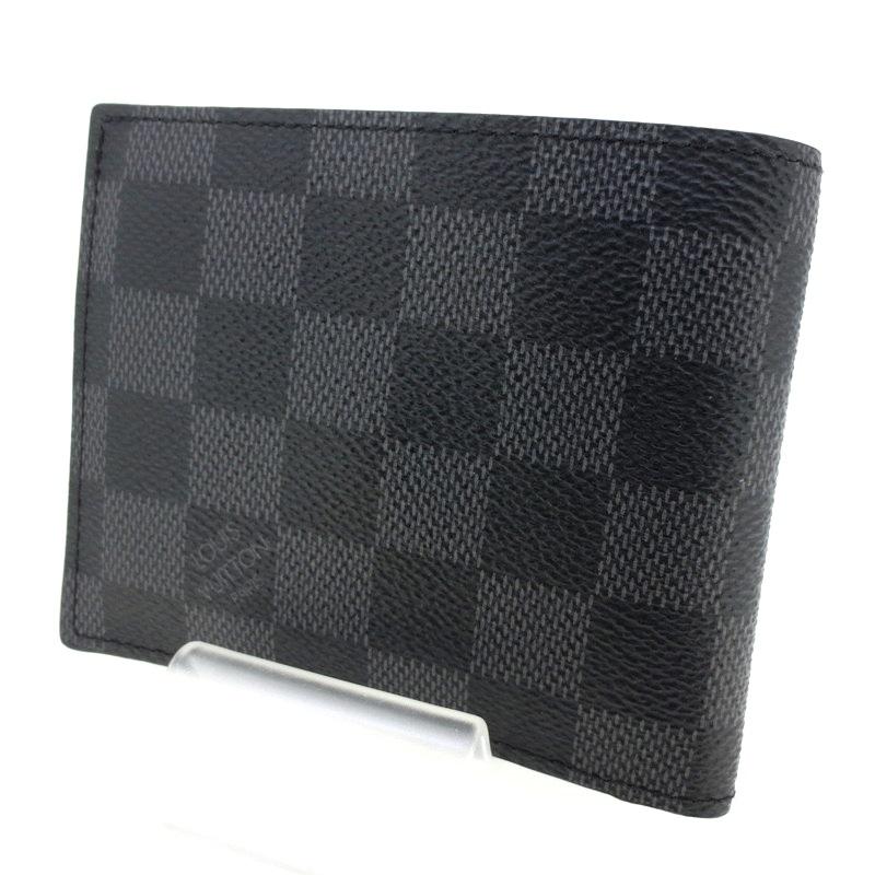 【中古】LOUIS VUITTON ルイヴィトン ポルトフォイユ・マルコ 二つ折り 財布 ウォレット サイズ:- カラー:ブラック【f125】