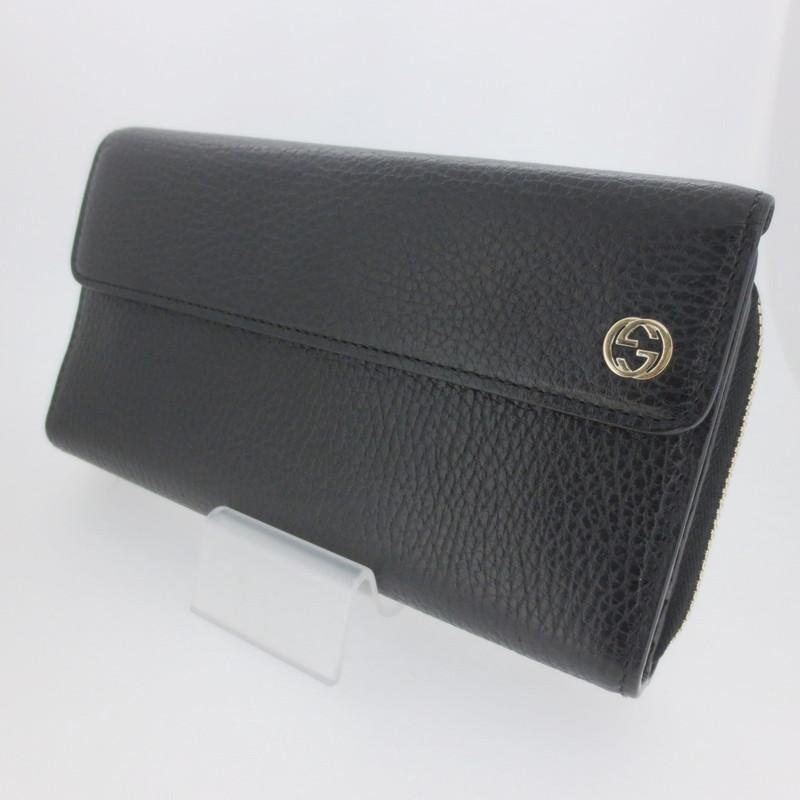 【中古】GUCCI グッチ インターロッキングG 三つ折り財布 ウォレット 449397 サイズ: カラー:ブラック【f125】