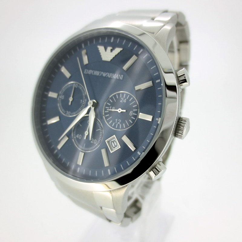 【中古】EMPORIO ARMANI/エンポリオアルマーニ 腕時計 リストウォッチ AR-2448 ネイビー×シルバー クォーツ ステンレススティールベルト【f131】