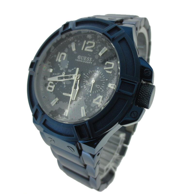 【中古】GUESS/ゲス 腕時計 リストウォッチ W0218G4 ネイビー×ネイビー クォーツ ステンレススティールベルト【f131】