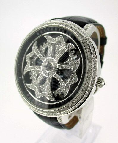 【中古】Anne Coquine/アンコキーヌ 腕時計 リストウォッチ 1101-0202 シルバー×ブラック クォーツ 革(レザー)ベルト