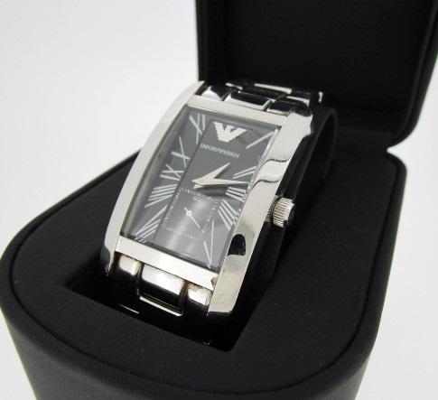 【中古】EMPORIO ARMANI エンポリオアルマーニ 腕時計 リストウォッチ AR-0156 ブラック系×シルバー クォーツ ステンレススティールベルト【f131】