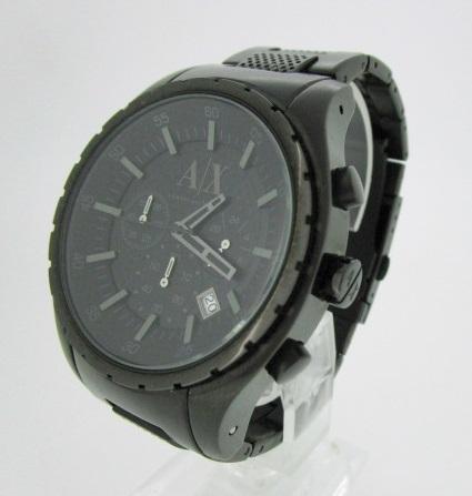 【中古】ARMANIEXCHANGE アルマーニエクスチェンジ 腕時計 リストウォッチ ブラック系×ブラック系 クォーツ ステンレススティールベルト【f131】