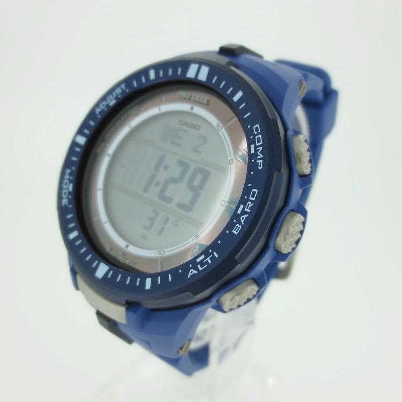 【中古】CASIO カシオ プロトレック 腕時計 リストウォッチ PRW-3000 ×ブルー系 ソーラー 樹脂バンド【f131】