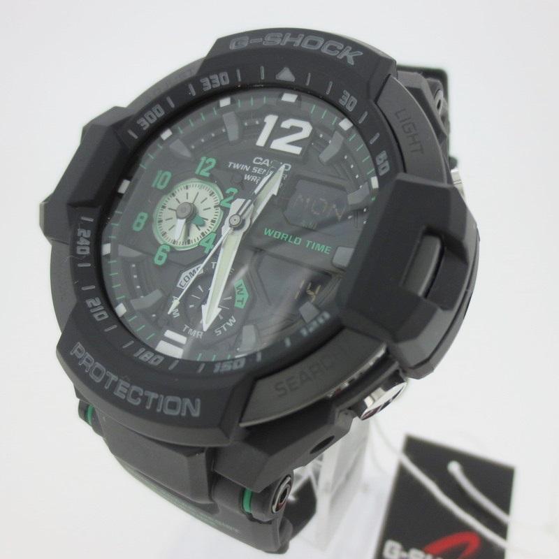【中古】CASHIO カシオ G-SHOCK Gショック スカイコックピット 腕時計 リストウォッチ  GA-1100 ブラック×ブラック クォーツ 樹脂バンド【f131】