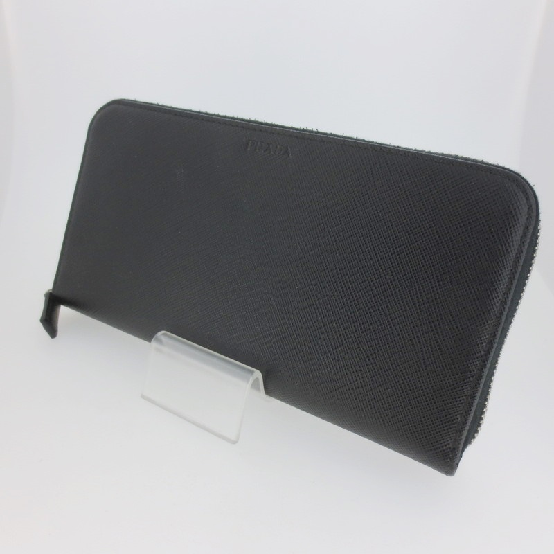 【中古】PRADA プラダ サフィアーノ 2ML317 ラウンドファスナー 長財布 ウォレット サイズ: カラー:ブラック【f125】