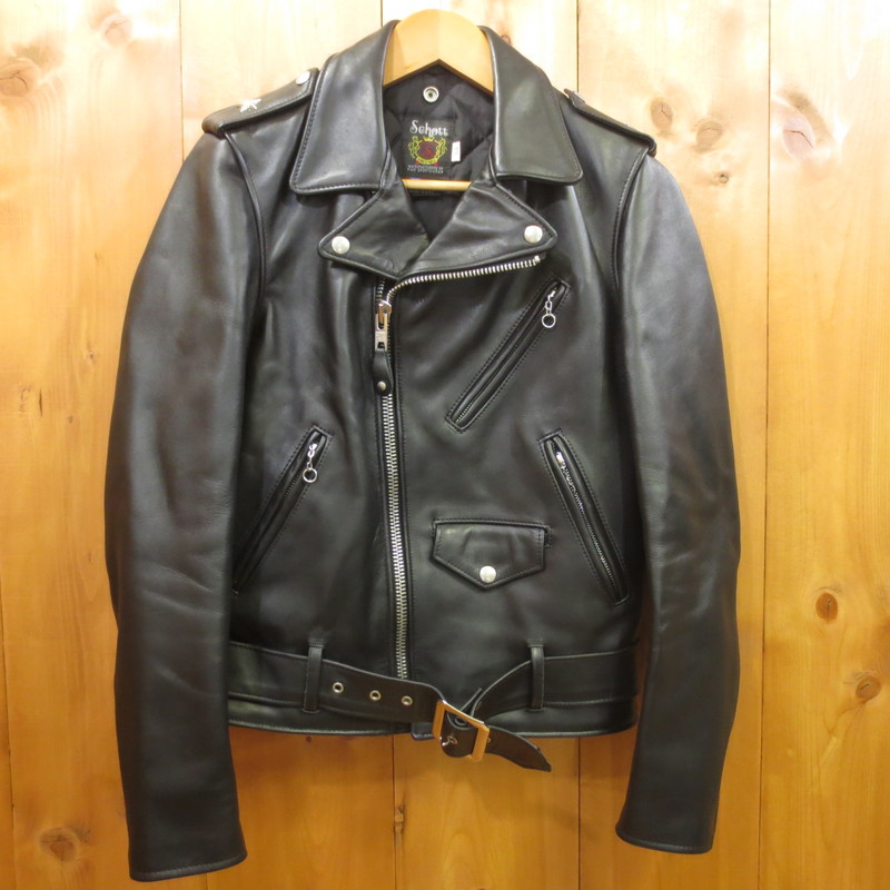【中古】Schott ショット ワンスター レザーダブルライダースジャケット サイズ:34 カラー:ブラック / アメカジ【f093】