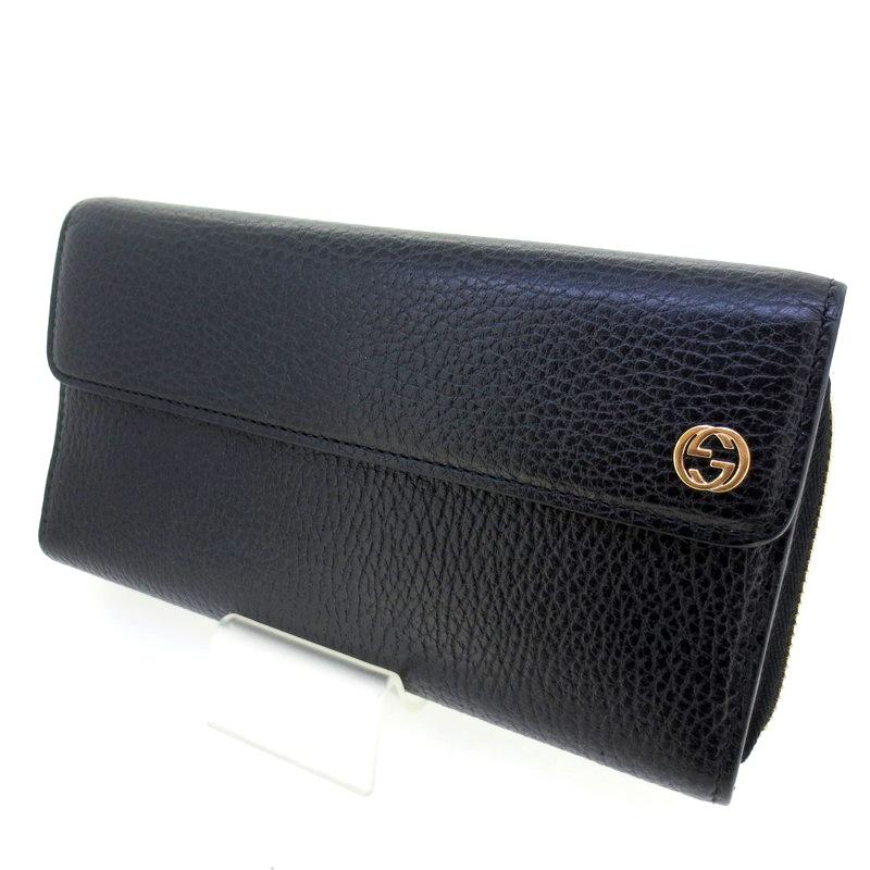 【中古】GUCCI グッチ インターロッキングG 三つ折り 財布 ウォレット サイズ:- カラー:ブラック【f125】