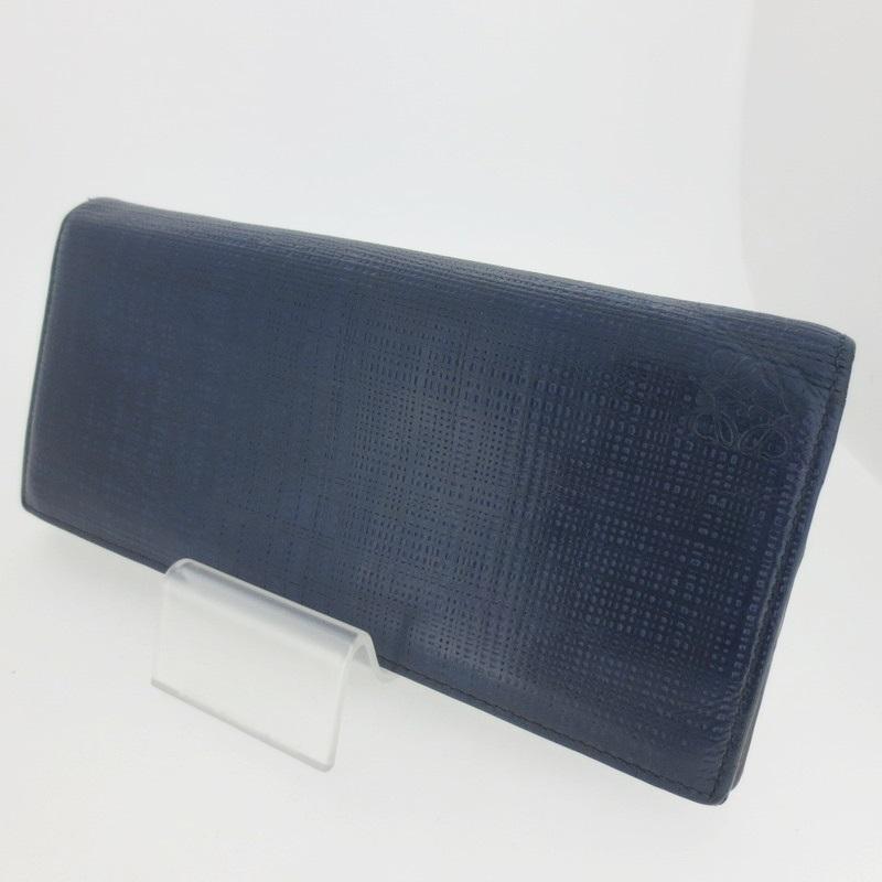 【中古】LOEWE ロエベ 二つ折り長財布 ウォレット 101.88.978 サイズ: カラー:ネイビー系【f125】