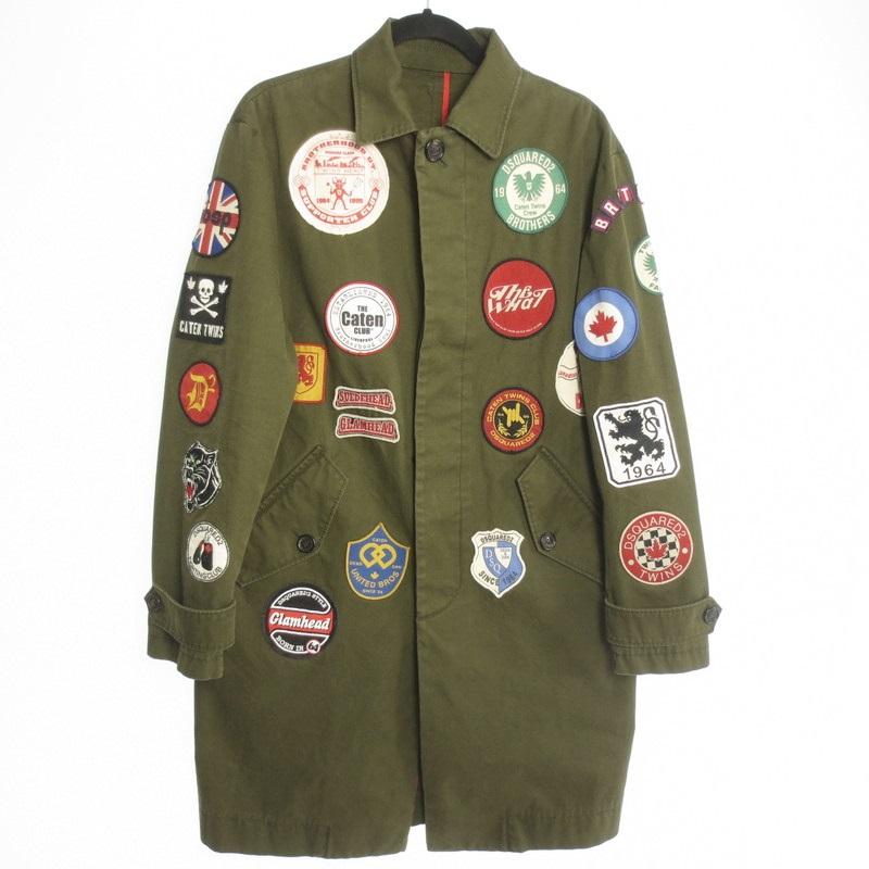【中古】DSQUARED2 ディースクエアード Vintage Patch Coat ワッペン コート サイズ:44 カラー:カーキ / インポート【f108】