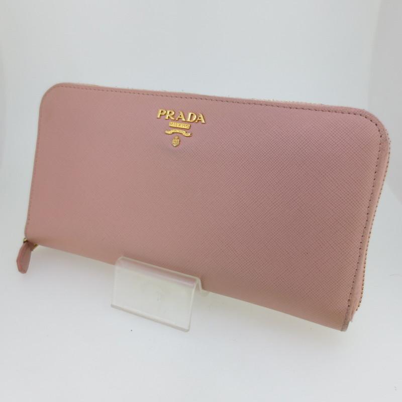 【中古】PRADA プラダ ラウンドファスナー 長財布 ウォレット サイズ:- カラー:ピンク【f125】