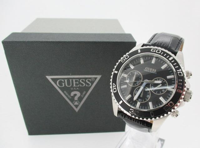 2dab9fb0544d 【中古】GUESS ゲス 腕時計 リストウォッチ W0171G1 クォーツ 革(レザー)ベルト ブラック×ブラック-メンズ腕時計