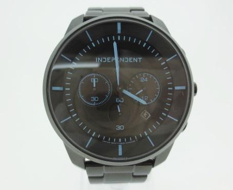 【中古】シチズン INDEPENDENT CITIZEN インディペンデント タイムレスライン クロノグラフ 腕時計 リストウォッチ KF5-14451 ブラック×ブラック ソーラー ステンレススティールベルト