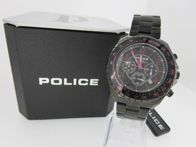 【中古】POLICE ポリス 腕時計 リストウォッチ 125-45JSB ブラック×ブラック クォーツ ステンレススティールベルト