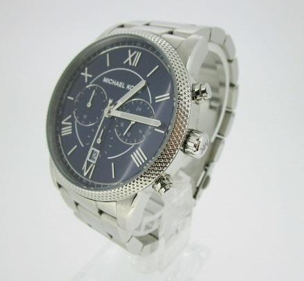 【中古】MICHAEL KORS マイケルコース 腕時計 リストウォッチ MK-8395 ネイビー×シルバー クォーツ ステンレススティールベルト, とやまけん:1031a76e --- fpara.jp