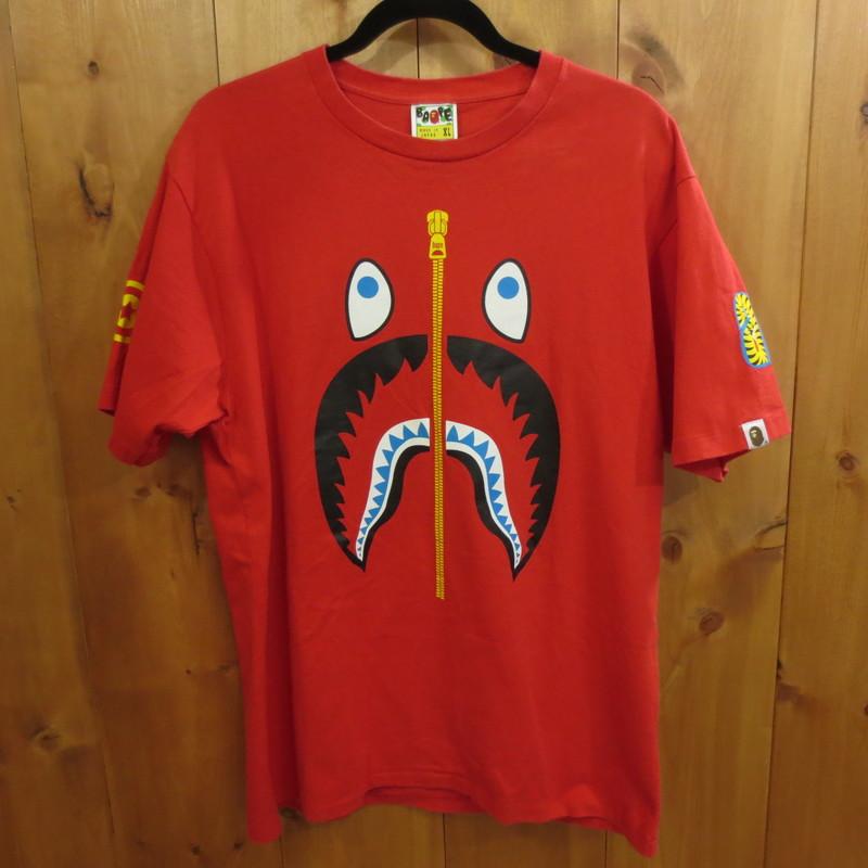 【中古】A BATHING APE アベイシングエイプ シャーク 半袖 Tシャツ サイズ:XL カラー:レッド / ストリート【f103】