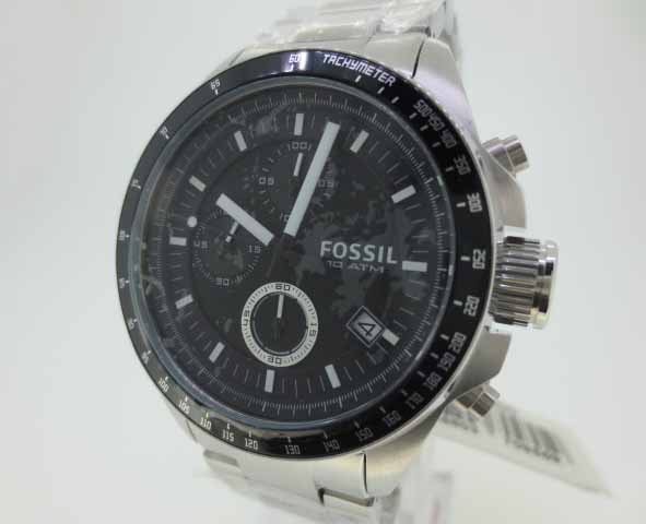 【中古】FOSSIL フォッシル 時計 CH2600/DECKER ブラック×シルバー クォーツ ステンレススティールベルト